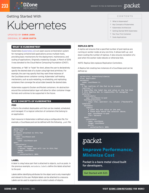 Getting Started With Kubernetes DZone Refcardz